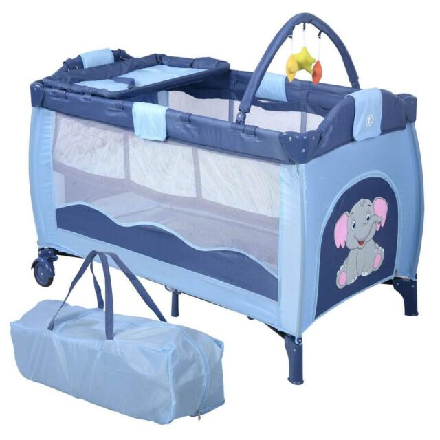 on sale ec7e2 ff4ed Portable Infant Baby Travel Cot Bed Play Pen Bassinet Changing Table  Playpen Mat