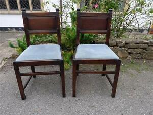 A Pair Of Early Ercol Vintage Old Dining Chairs With Blue
