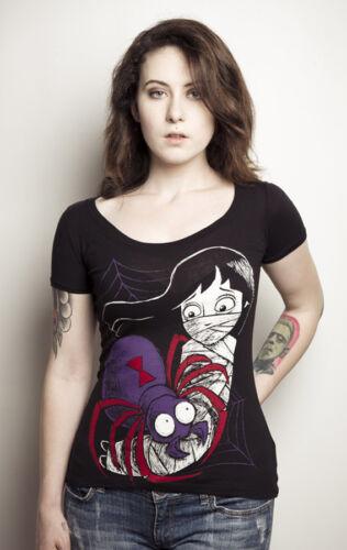 Akumu Ink Trapped Black Widow Spider /& Girl Japanese Horror Scoop Neck Tshirt