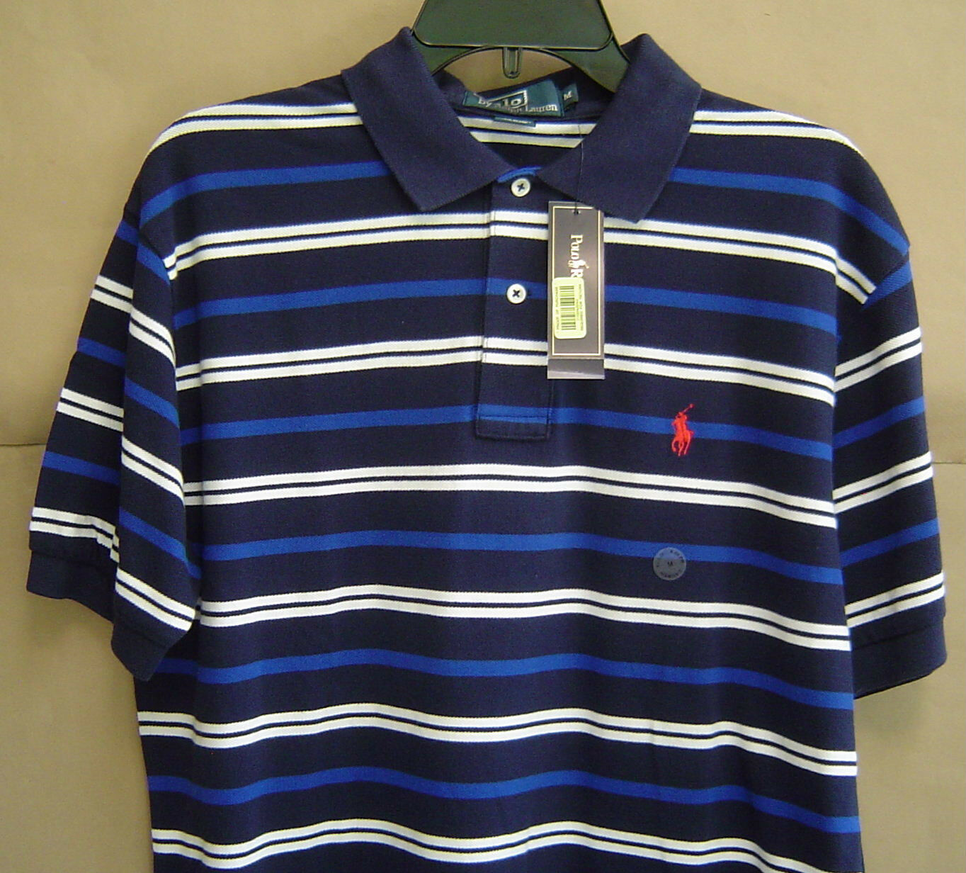 NWT  POLO RALPH LAUREN Mens M Classic Fit STRIPED MESH SHIRT Navy 0480796