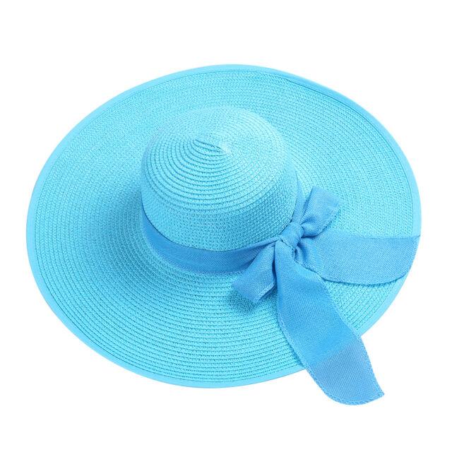 eacd1bcd380 Aqua Women s Floppy Wide Brim Straw Hat Summer Beach Roll-up Bow Sun ...