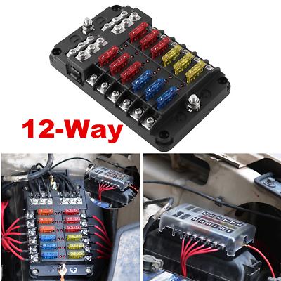 12 Way Car Auto Boat Marine UTV 4x4 Blade Fuse Box Block Cover 12V LED Indicator