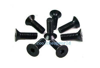 100pcs M3x12mm Black 10.9 Carbon Steel Flat Countersunk Head Hex Socket Screw