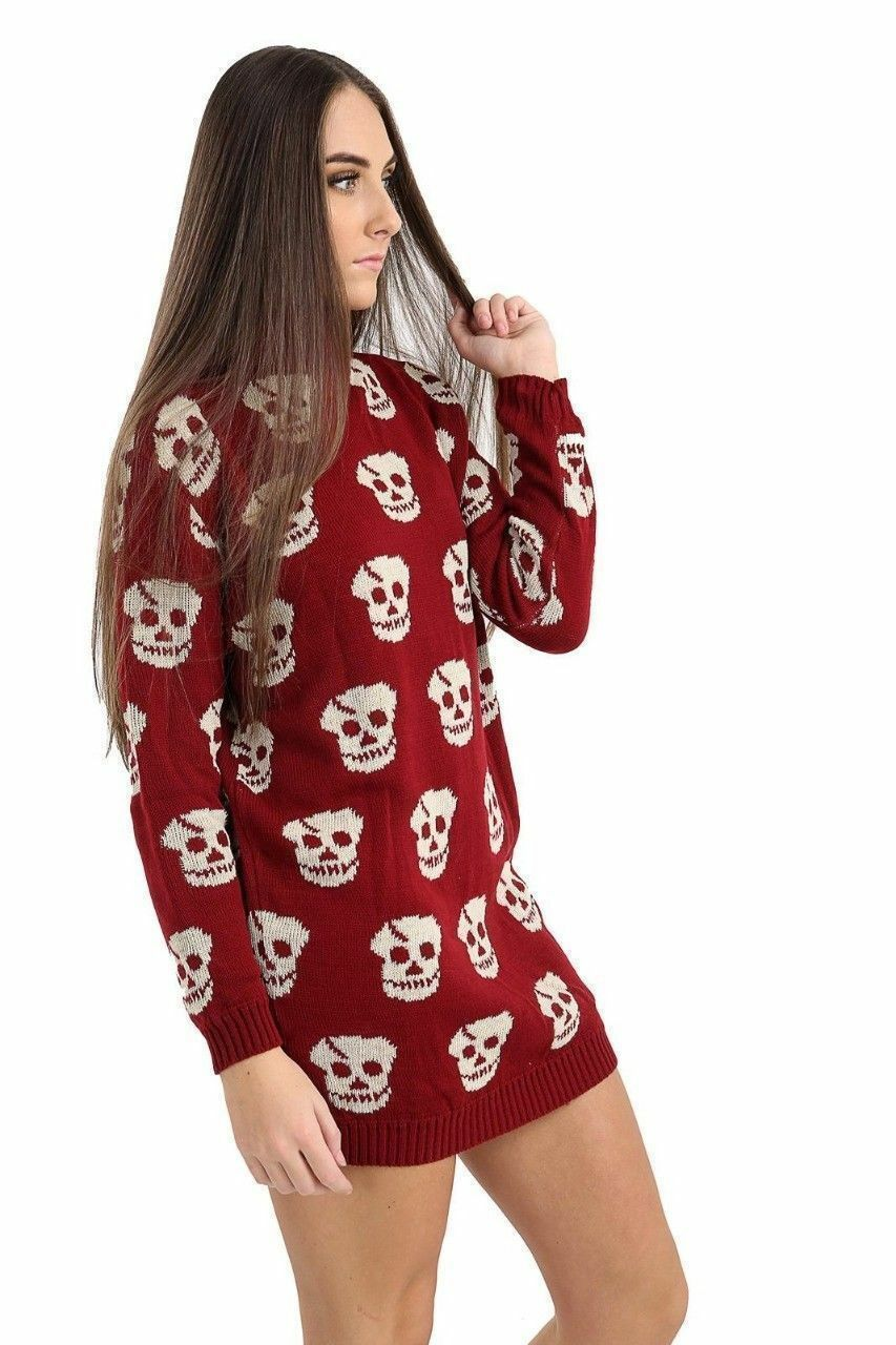 Femmes Crâne Hiver Pull Pull Hiver Tricot Col Polo Haut à manches longues Robe UK 8-22 53a397