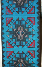 "Woven Table Runner 16x80"" + Fringed Ends Southwestern Native American Blue #3"