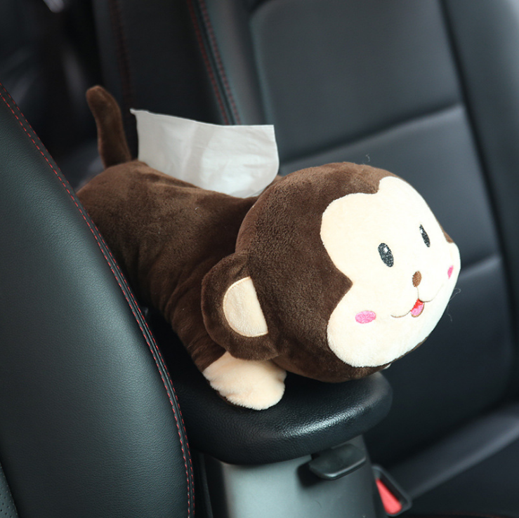 Cozyhoma Plush Tissue Box Holder Cover Cute Hanging Anime Toys Monkey Tissue Case Napkins Paper Towels Storage Holder for Car Bathroom Bedroom Office