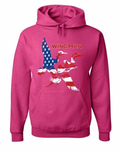 Wingman Duck Hunting Hoodie Stars and Stripes Mallard Waterfowl Sweatshirt