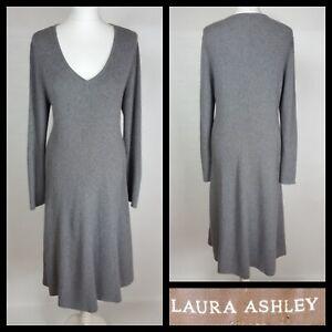 Laura-Ashley-Grey-Ribbed-Wool-Blend-Midi-Jumper-Dress-Size-UK-16