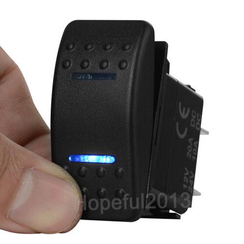 Momentary Rocker Switch DPDT 7pin 12v//24v on on -off- 3 Way Boat Car Blue LED