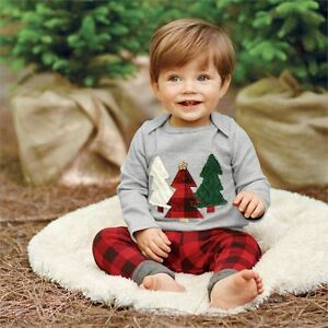 2pcs-Kids-Baby-Boy-Girl-Christmas-Clothes-Set-Casual-T-shirt-Check-Pants-Outfits