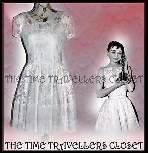 TOPSHOP-Cream-White-Vtg-50s-60s-Hepburn-Floral-Spot-Lace-Skater-Dress-UK10-12-14