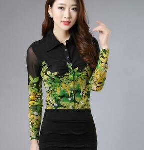 Women-Mesh-Floral-Printed-Shirt-Slim-Long-Sleeve-Career-Blouses-Lapel-Tops