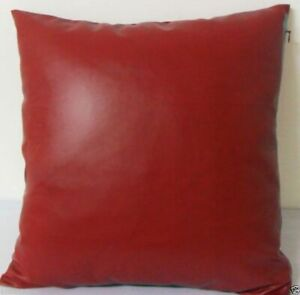 Pillow Cushion Cover Leather Decor Set Genuine Soft Lambskin Red All sizes 5