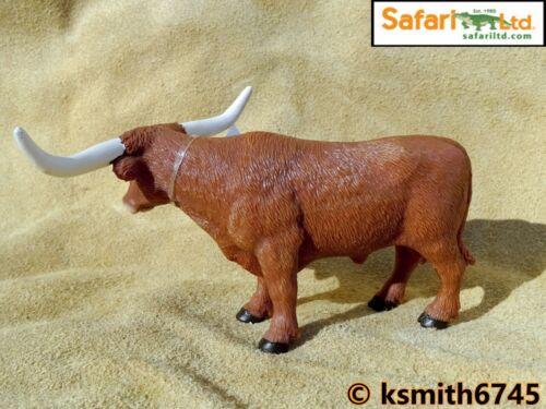 Safari TEXAS LONGHORN BULL solid plastic toy farm pet brown animal cow NEW *
