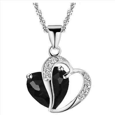 Women Fashion Charm Crystal Heart Pendant Necklace Silver Chain Jewelry Choker