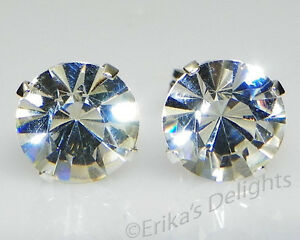 (3mm - 10mm) Crystal Diamond Sterling Silver Earrings Using Swarovski Elements