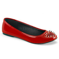 Demonia Star 24 Ladies Shoes Ballet Flat Studded Spike Heart Silver Red Patent