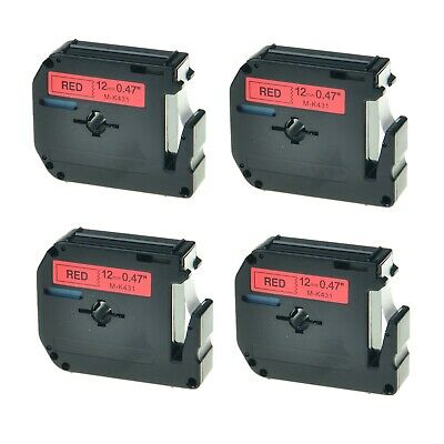4PK M-K431 M431 Black on Red 0.47/'/' Label Tape For Brother P-Touch PT-65 PT-65SB