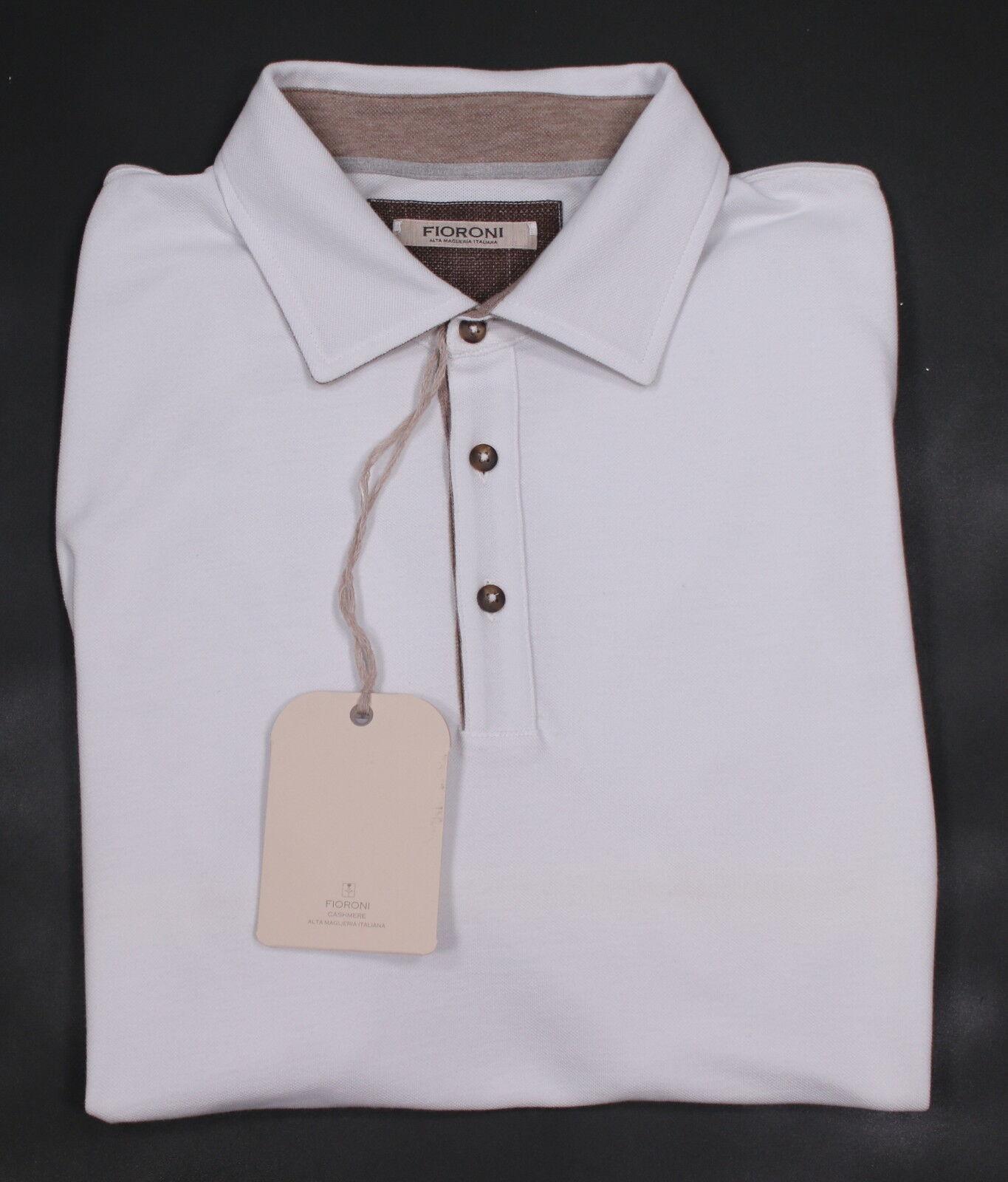 Nwt Neu FiGoldni Einfarbig Weiß Dünnes Netz- Baumwolle Baumwolle Baumwolle Polohemd (Eu 58) 48  | Ausreichende Versorgung  e1cb3d