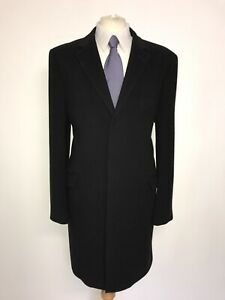 Austin Reed Mens Long Black Wool Cashmere Coat 46 Reg Worn Twice Ebay