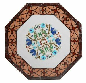Marble Coffee Side Table Top Rare Inlay Marquetry Mosaic Home Garden Decors Arts