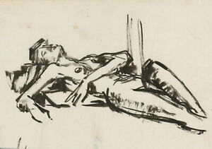 Peter Collins ARCA - c.1970s India Ink, Reclining Female Nude