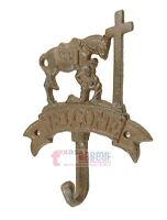Western Praying Cowboy Wall Hook Key Holder Coat Hanger Cast Iron Welcome Rustic