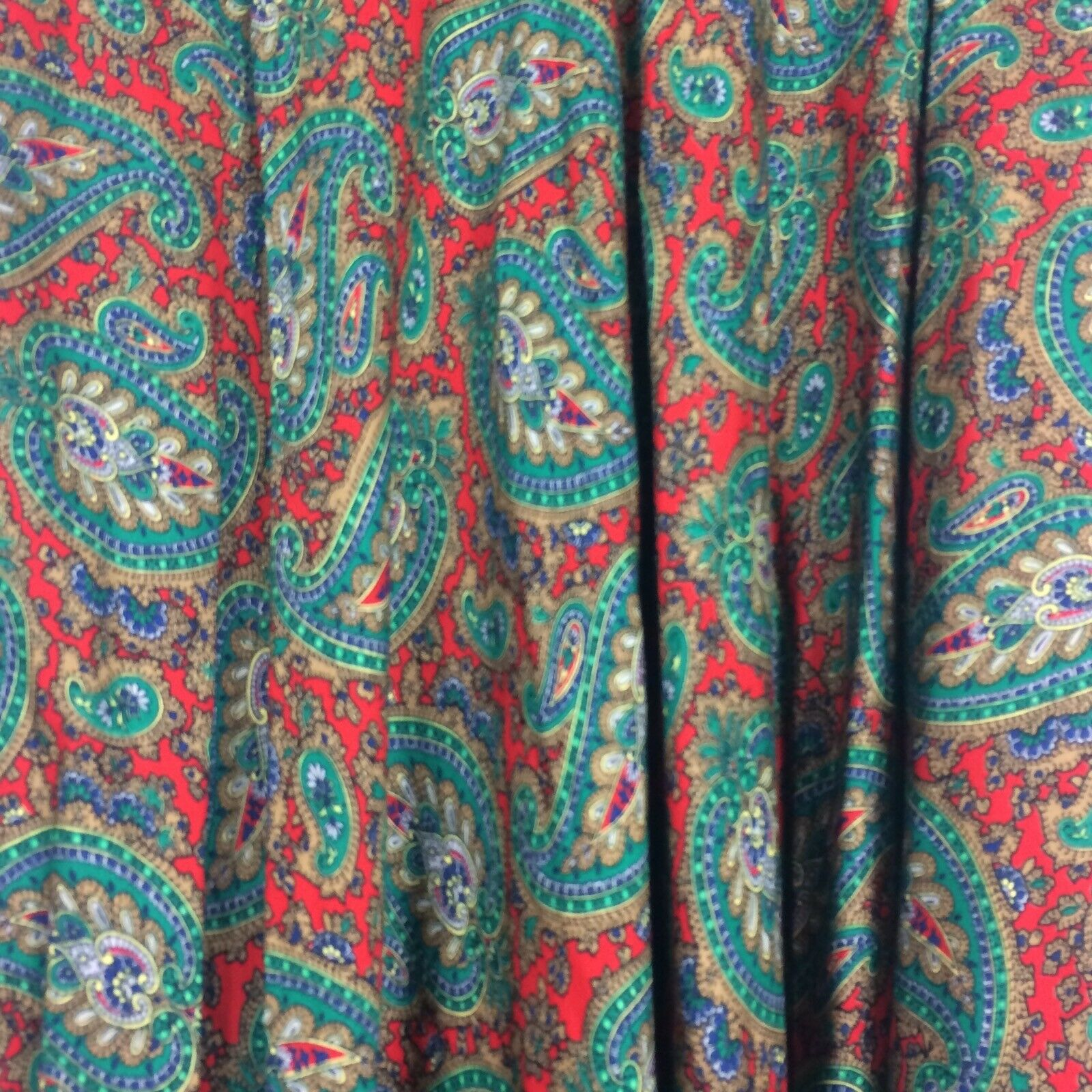 Ralph Lauren Maxi Skirt Red Green Paisley Print R… - image 3