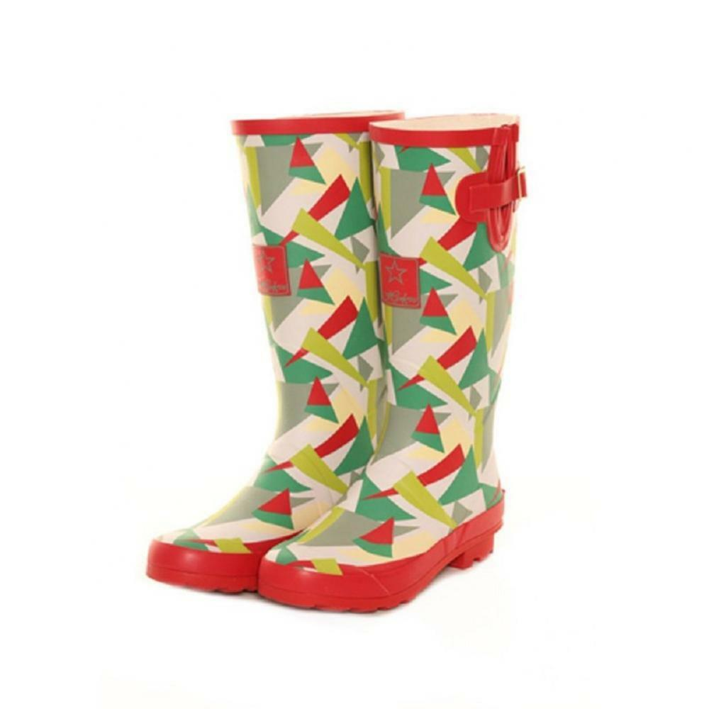 Ladies Girls Festival Fashion Funky Red Green Wellies Wellington Boots Sizes 4-8