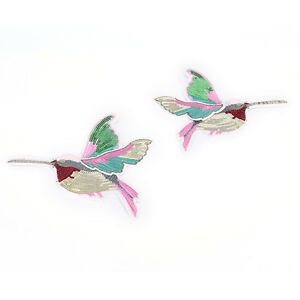 Art & Craft Supplies 3D Sequin Embroidery Birds Patch Applique Sew On Clothes Accessory Patchwork FO