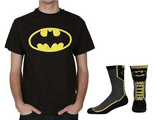 Batman Logo Mens/' T-Shirt /& Crew Socks 2 Piece Gift Set New
