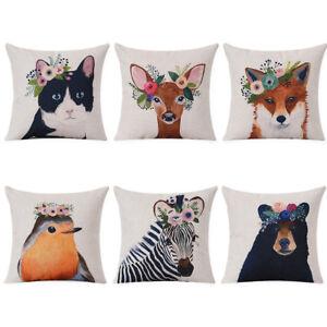 Am-Vintage-Animal-Deer-Fox-Zebra-Linen-Pillow-Case-Cushion-Cover-Home-Decor-Eye