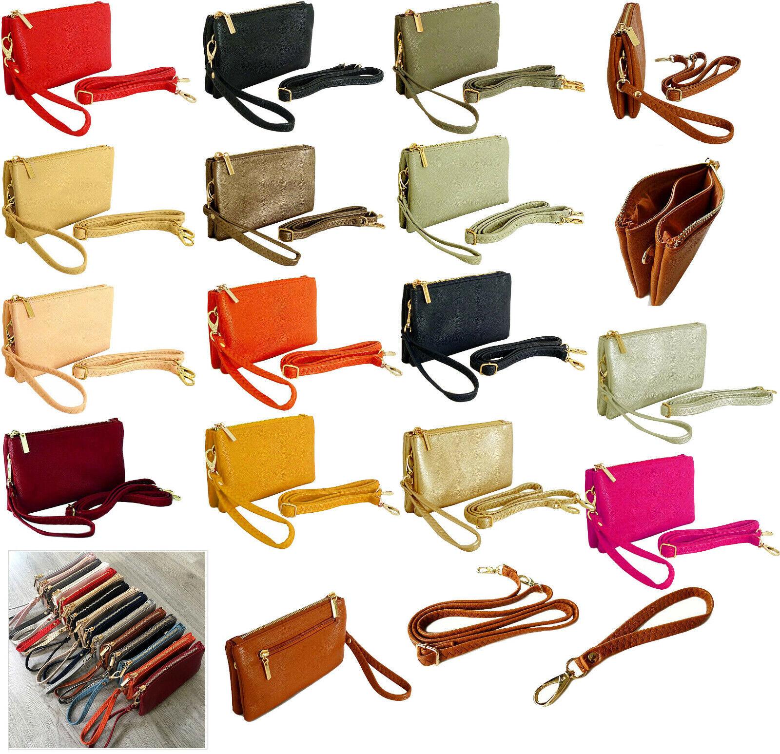 Small Clutch Bag Over Shoulder Bag Crossbody Plain Purse Multi Compartment Strap