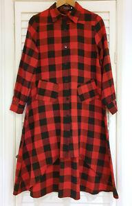 Gorgeous-brushed-cotton-tartan-shirt-dress-Size-M-10-12-Irregular-Hem-Plaid-Red
