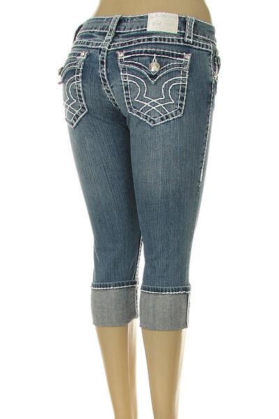 L.A. IDOL JEANS Embroidered White Stitch Capri Jeans Size 3 Waist 26 NWT