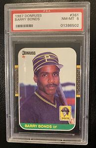 1987 Donruss Barry Bonds #361 PSA 8 NMMT Pittsburgh Pirates Rookie Card