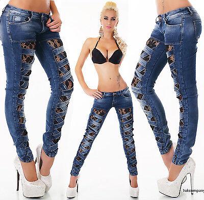 Sexy Women's Denim Dark Blue Skinny Jeans Black Crochet Lace Party Pants 6-14