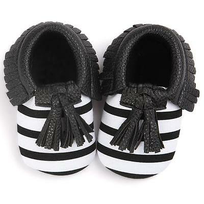 Baby Boy Girl Crib Tassels Bowknot Toddler Sneakers Anti-slip Soft Shoes 0-18M