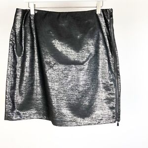 Laundry-By-Shelli-Segal-Size-12-Skirt-Black-Pencil-Exposed-Zipper-Metallic