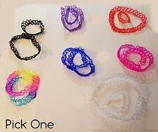 Plastic Tattoo Choker Black Rainbow Clear Blue Orange Pink or Purple +Bracelets