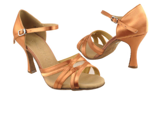 Latin Salsa Very Fine Ballroom Competitive Dance Shoes SERA1398 Tan Satin