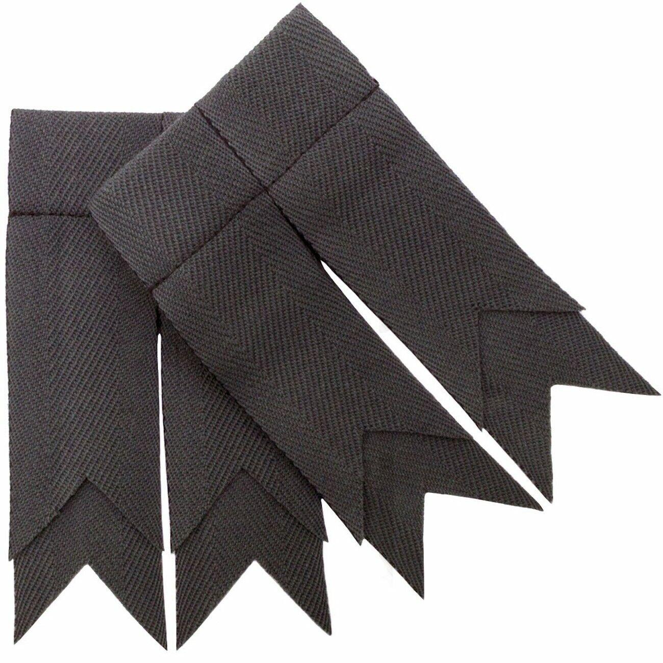 Lochcarron Stealth Grey Plain Wool Braid Double Garter Mens Kilt Flashes