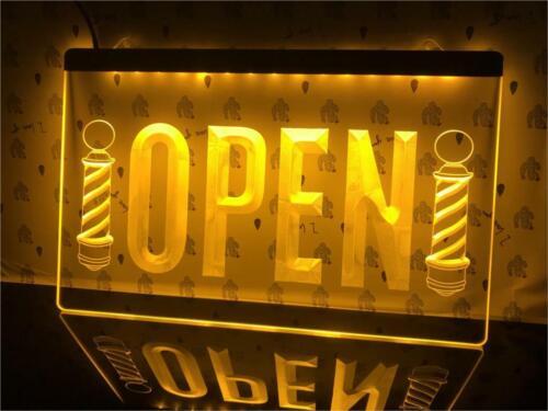 OPEN Barber Poles Hair Cut Shop LED Neon Light sign RGB Multi-Color Home Decor