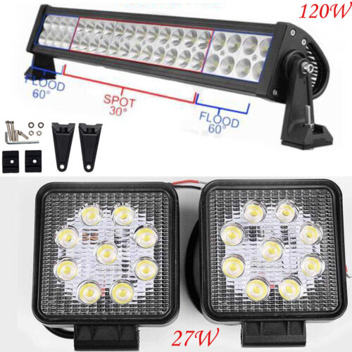 12V 24V LED Work Lights Bar Flood Spot Beam Driving Lamps Offroad SUV Truck Boat