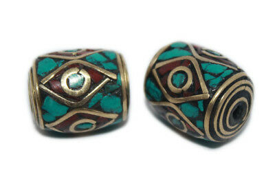 10pcs Antique Copper Handmade Tibetan Beads Brass with Coral and Turquoise