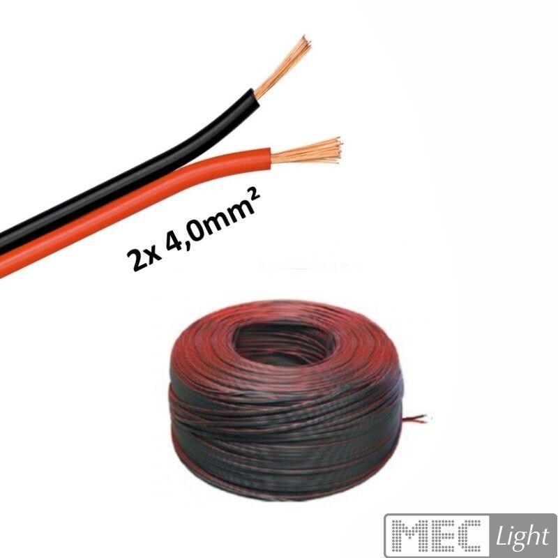 (  m) 5-100m LED KFZ Kabel Zwillingslitze 2x 4,00mm² rot schwarz 2-adrig