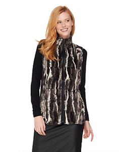 Susan-Graver-Faux-Fur-Zip-Front-Vest-Small-Black-Grey