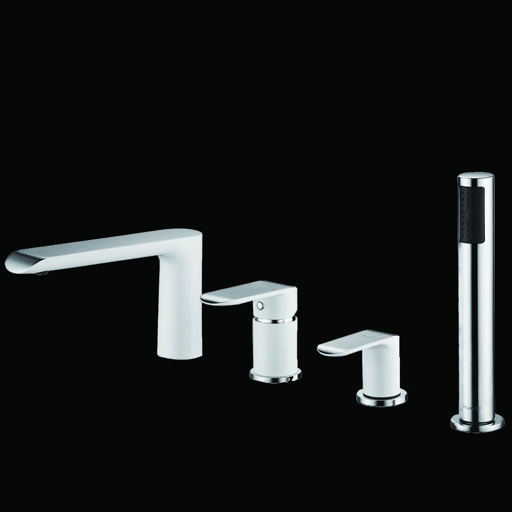 Design Weiß Chrom 4 Loch Wannenrandarmatur Wannenarmatur Badewannenarmatur WDG28