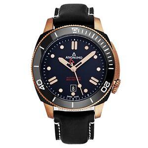Anonimo-Men-039-s-Nautilo-Black-Leather-Strap-Bronze-Automatic-Watch-AM100208005A05