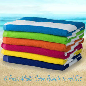 "6 Pack Large Beach Towels Cabana Hotel Stripe Pool Towel Cotton Blend 30"" x 60"""